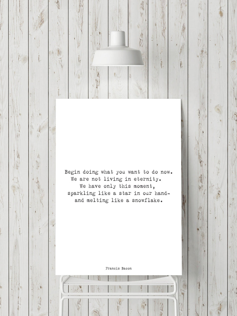Francis Bacon Life Quote Inspirational Print Or Inspirational Gift, Master Bedroom Decor Typography Quote Print Unframed - BookQuoteDecor