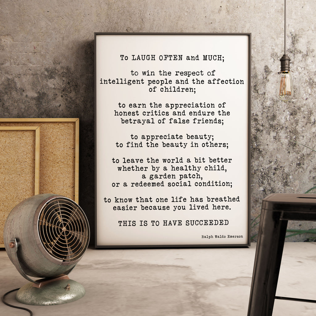 Framed Emerson Quote To Laugh Often And Much - BookQuoteDecor