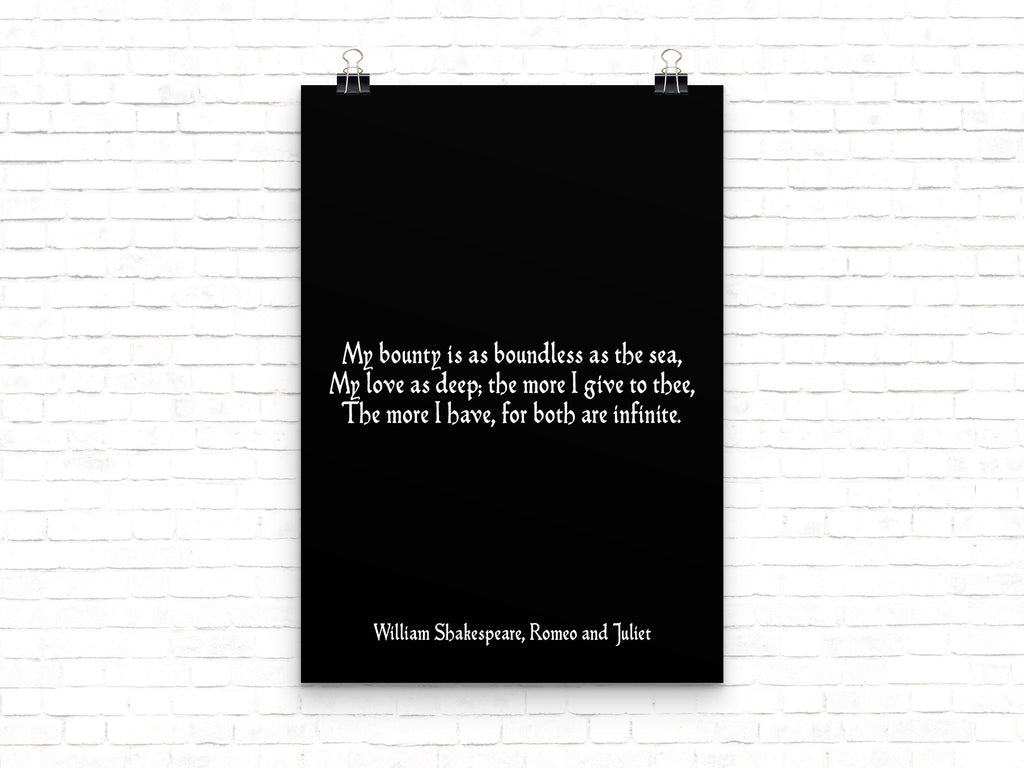 Romeo and Juliet Shakespeare Love Print - BookQuoteDecor