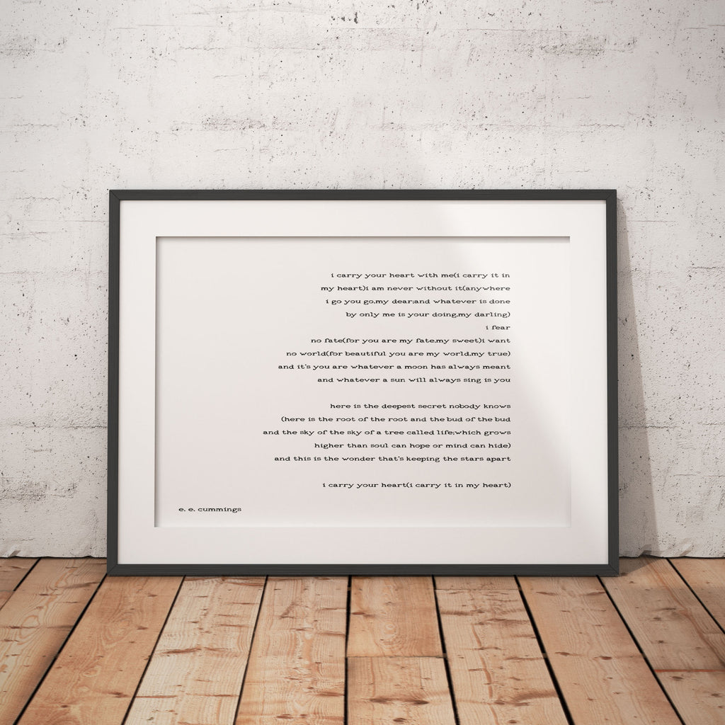 ee cummings print art, poetry quote art, ee cummings art, i carry your heart wall art, wedding poem print black and white art decor Unframed - BookQuoteDecor