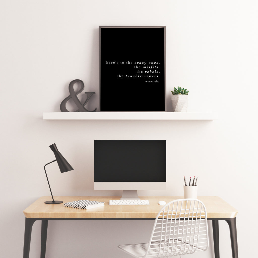 Steve Jobs, Here's to the crazy ones, Inspirational Quote Print, Home or Office Decor, Motivational Decor Print Unframed - BookQuoteDecor