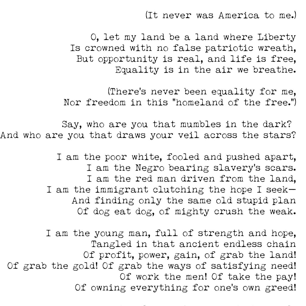 America Poem Langston Hughes Print - BookQuoteDecor