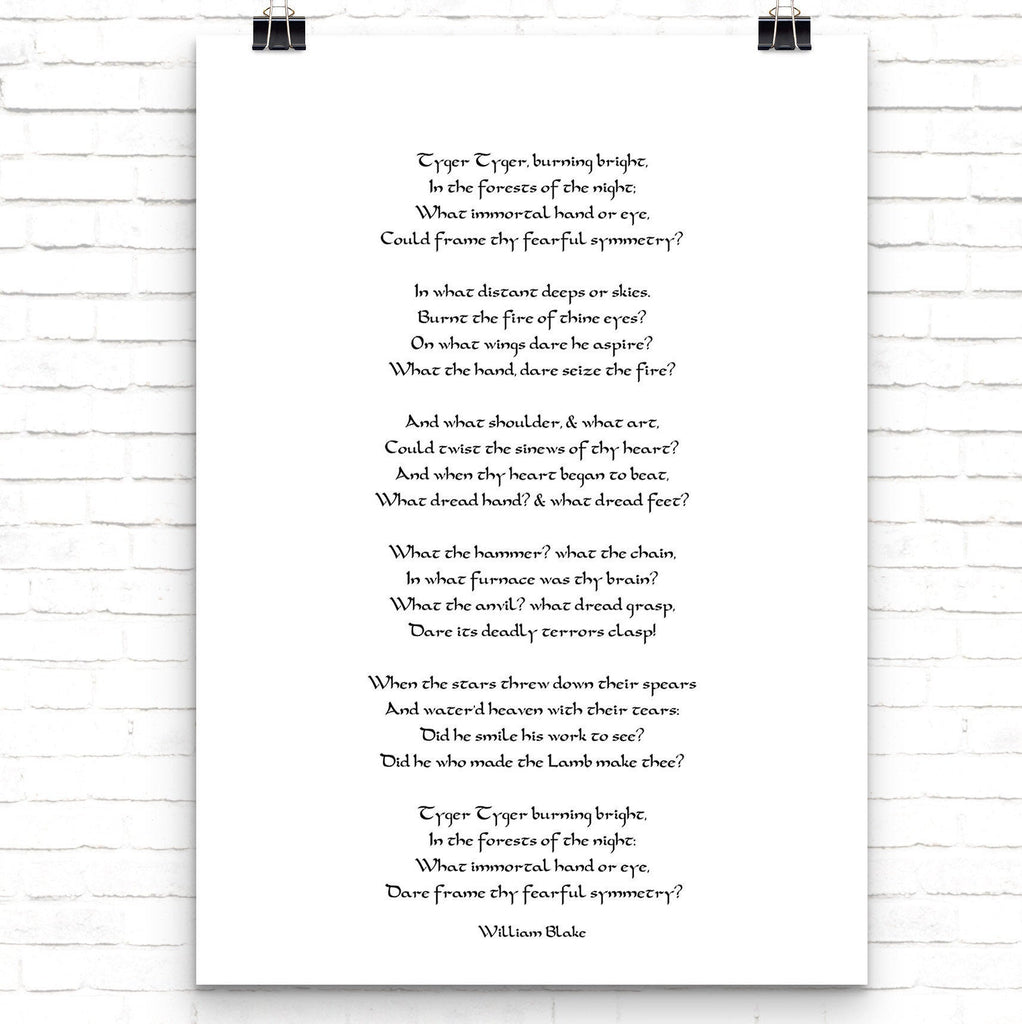 William Blake The Tyger Poem Print Black & White for Home Wall Decor, Unframed - BookQuoteDecor