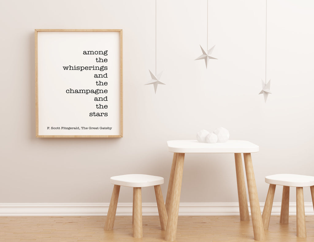 F Scott Fitzgerald Champagne & Stars quote inspirational print, romantic gift, typography quote print Unframed - BookQuoteDecor