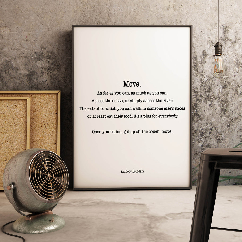 Anthony Bourdain Quote Wall Print - BookQuoteDecor