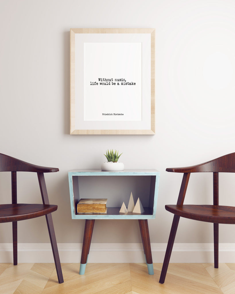 Friedrich Nietzsche Quote Print , Without music, life would be a mistake Psychology Art Print, Psychologist Print with Quotation, Unframed - BookQuoteDecor
