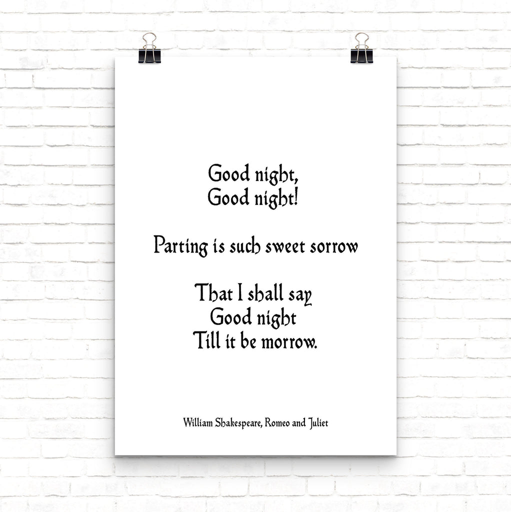 Romantic Gift Love Quote Romeo & Juliet, Black and White Wall Art Above Bed Decor, Shakespeare Love Print Unframed - BookQuoteDecor