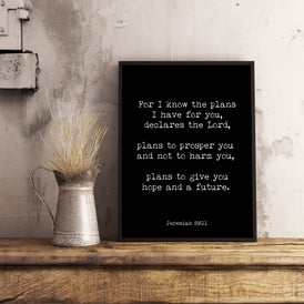 Give you Hope and a Future Jeremiah 29:11 Print - BookQuoteDecor