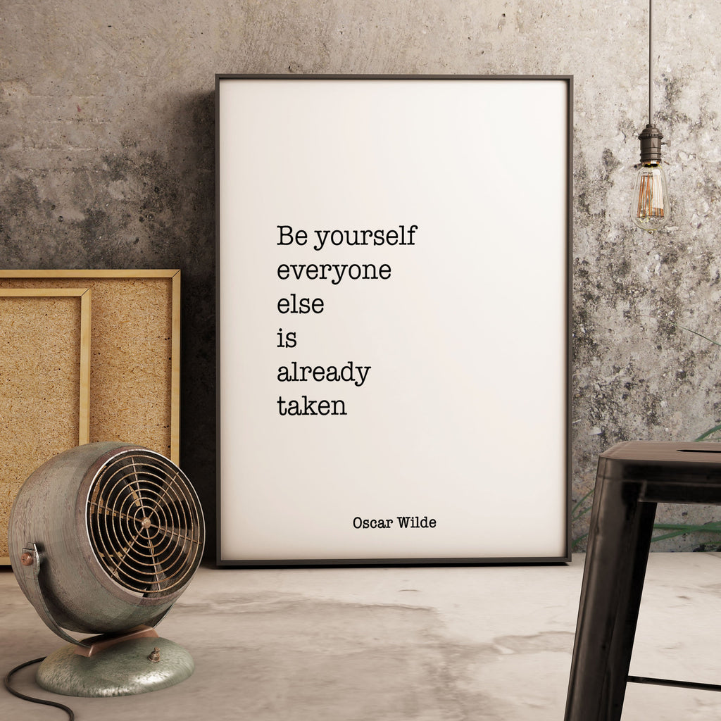 Oscar Wilde Be Yourself Print, Life Quote, black and white art, motivation quote inspirational print for home decor, Unframed - BookQuoteDecor