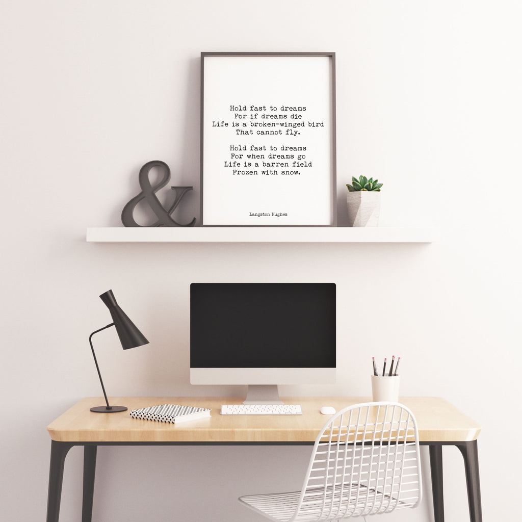 Hold Fast To Dreams Langston Hughes Poem Print - BookQuoteDecor