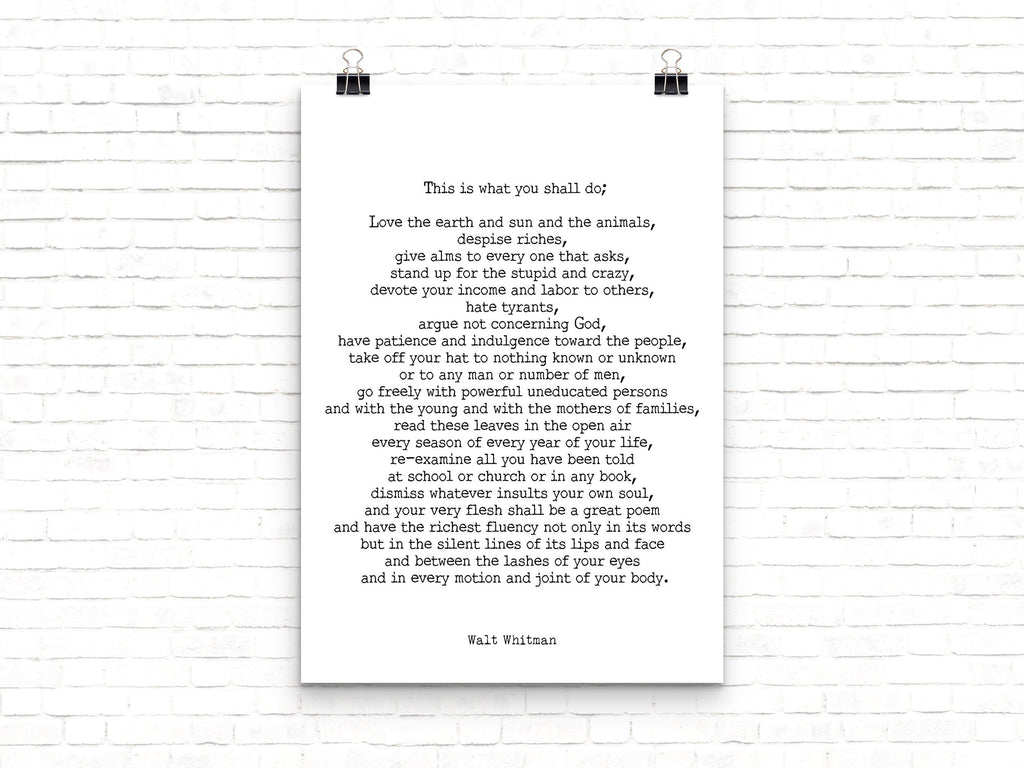 Walt Whitman Leaves of Grass Print, This Is What You Shall Do Inspirational Poem in Black & White for Home Wall Decor, Unframed - BookQuoteDecor