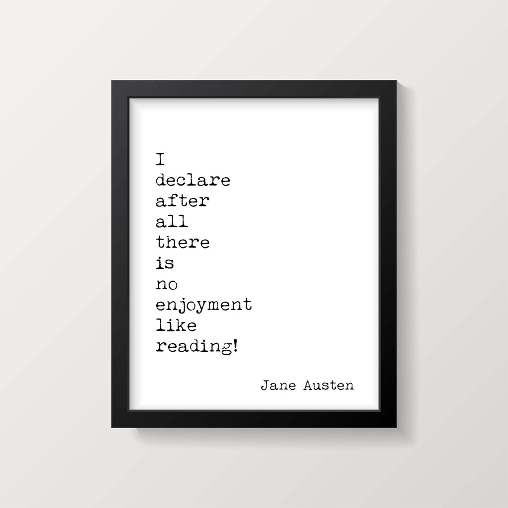 Pride and Prejudice Print, Reading Quote, Jane Austen Quote Art, No Enjoyment Like Reading Book Quote Print, Jane Austen Wall Art Unframed - BookQuoteDecor