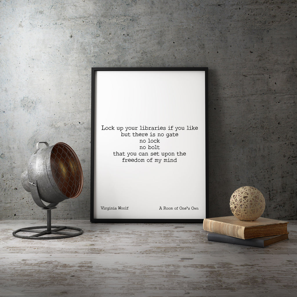 Virginia Woolf Book Quote Print, A Room of One's Own, Unframed Print Inspirational Poster, Psychology Art Print, Freedom Of My Mind Wall Art - BookQuoteDecor