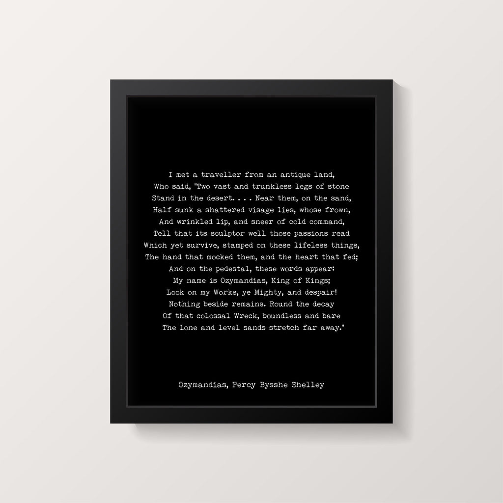 Ozymandias Poem Print, Percy Bysshe Shelley Poetry Poster in Black & White for Home Wall Decor, Unframed - BookQuoteDecor
