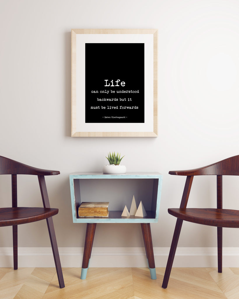 Soren Kierkegaard Quote Print , Life can only be understood backwards , Psychology Art Print, Philosopher Print with Quotation, Unframed - BookQuoteDecor