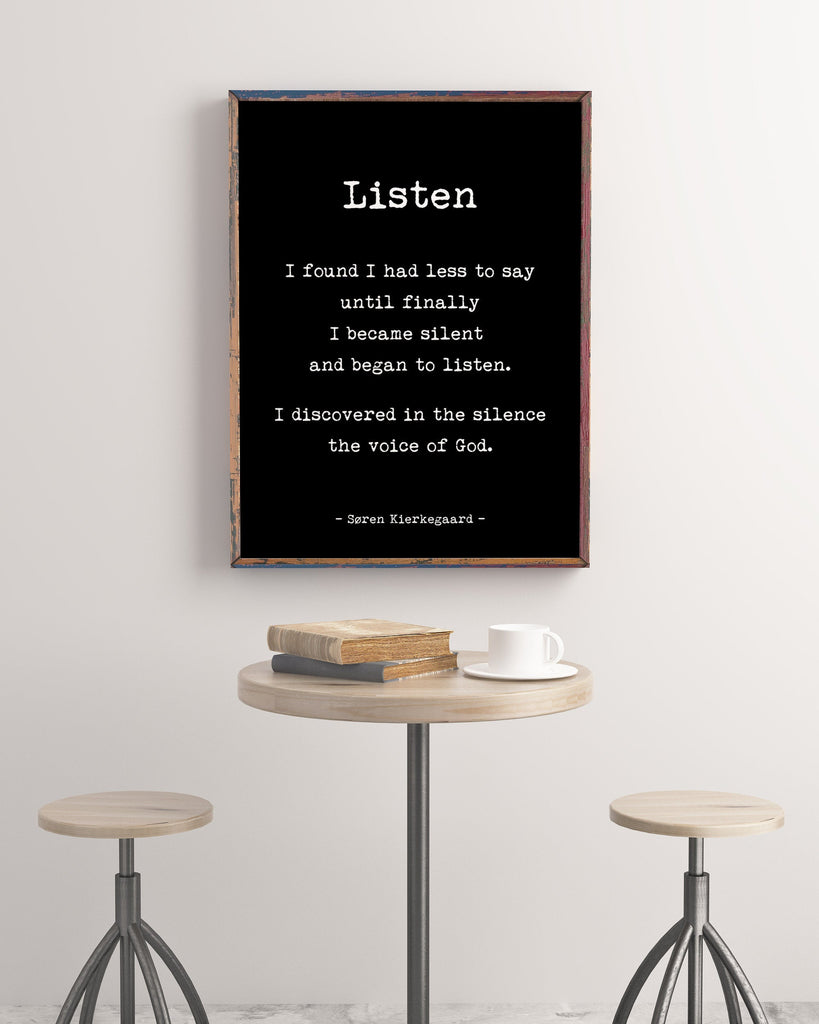 Soren Kierkegaard Quote Print , I found I had Less to say, Psychology Art Print, Philosopher Print with Quotation. Unframed - BookQuoteDecor