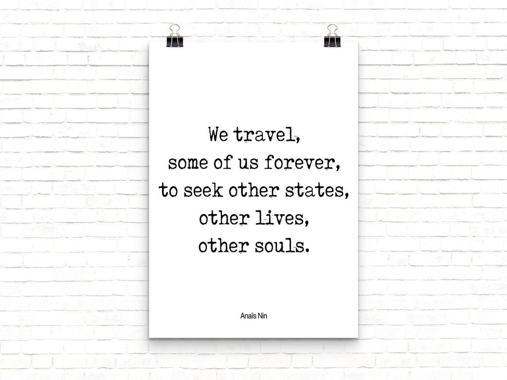 Anais Nin Travel Quote Wall Art - BookQuoteDecor