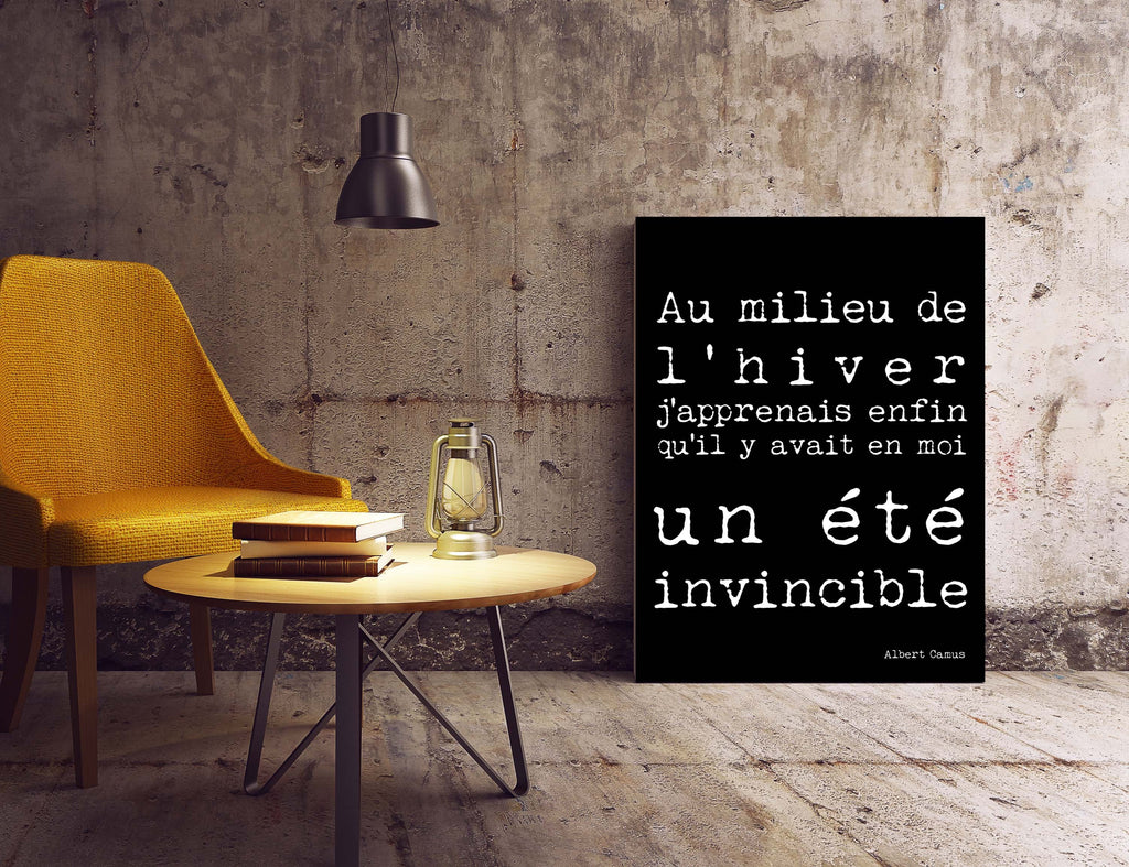 Albert Camus Quote Print in French - BookQuoteDecor