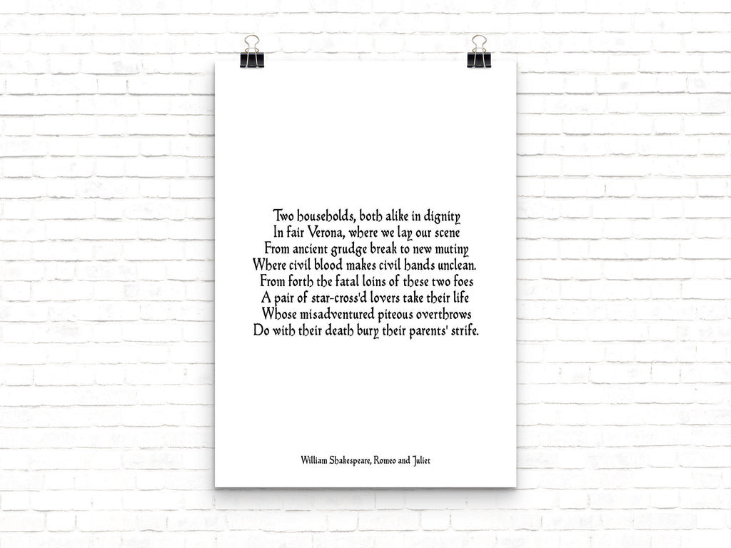 Romeo and Juliet Print, Two Households, Shakespeare Print, Opening Lines, Black & White Art, Shakespeare Quote Love Print Unframed - BookQuoteDecor