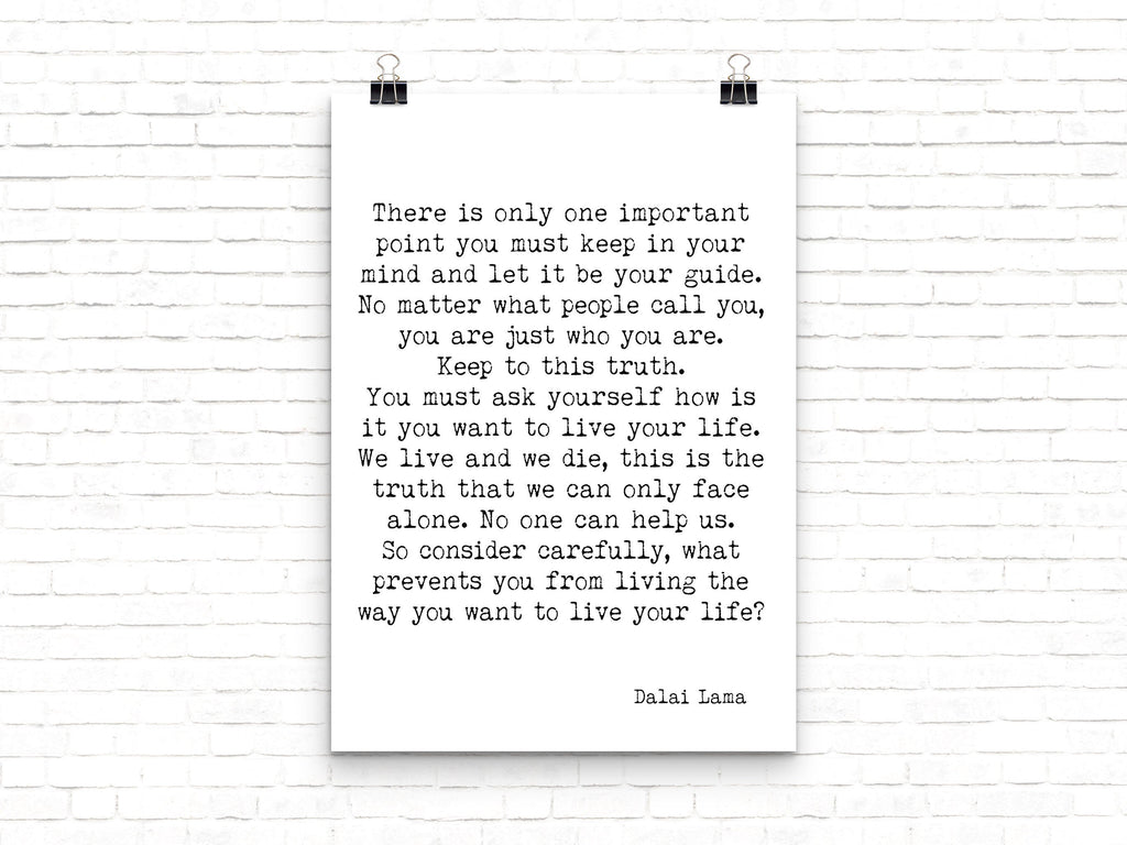Dalai Lama Quote Print - BookQuoteDecor