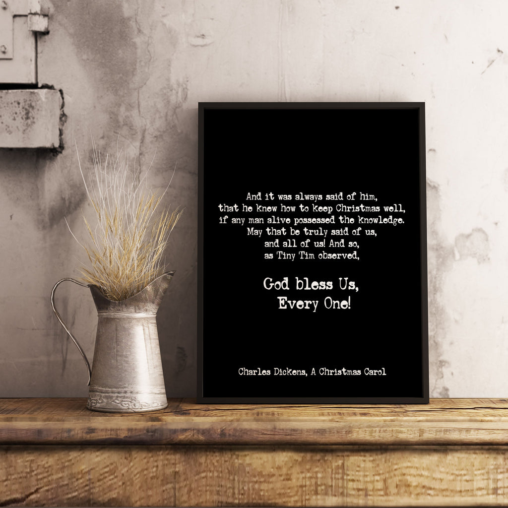 God Bless Us Christmas Carol Print Charles Dickens - BookQuoteDecor