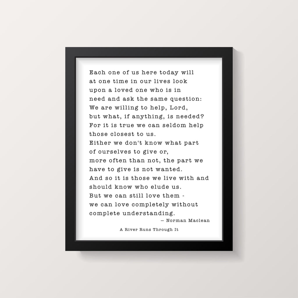 Norman Maclean A River Runs Through It Quote Print - BookQuoteDecor