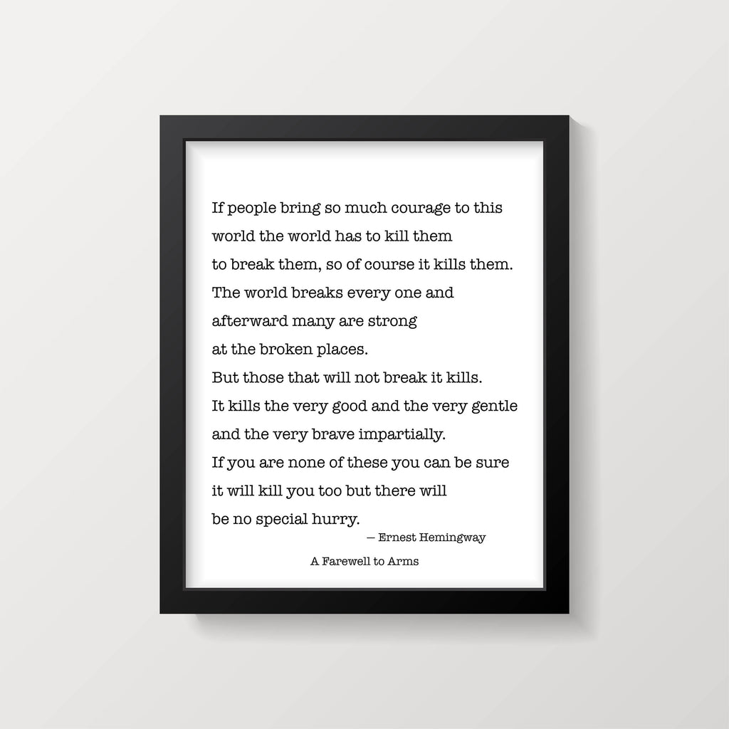Ernest Hemingway A Farewell to Arms Print - BookQuoteDecor