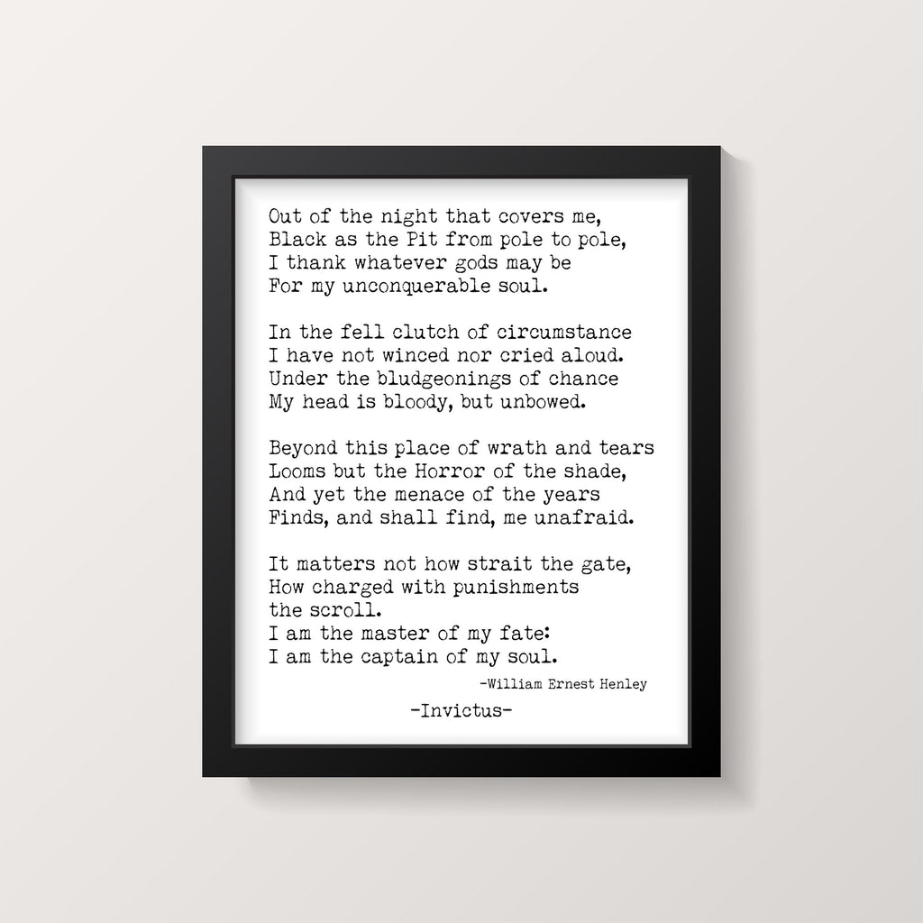 William Ernest Henley Invictus Print, I am the Master of my Fate , I am the captain of my soul Unframed Motivational Inspiring Print - BookQuoteDecor