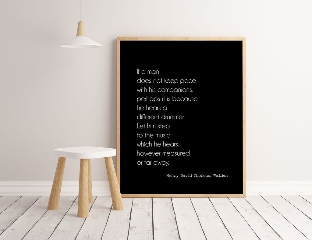 Henry David Thoreau, Walden quote inspirational print, Different Drummer inspirational gift, typography quote print Unframed - BookQuoteDecor