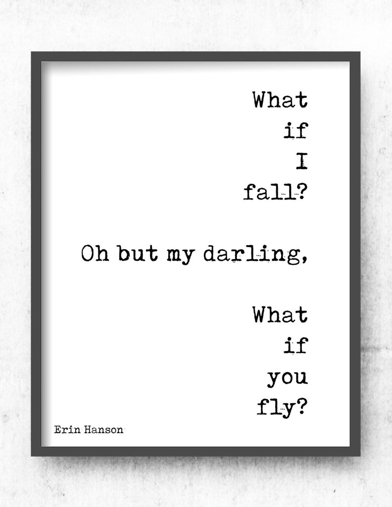 What If You Fly Print Nursery Decor, Black & White Kids Print, Erin Hanson Wall Art Print, Unframed - BookQuoteDecor