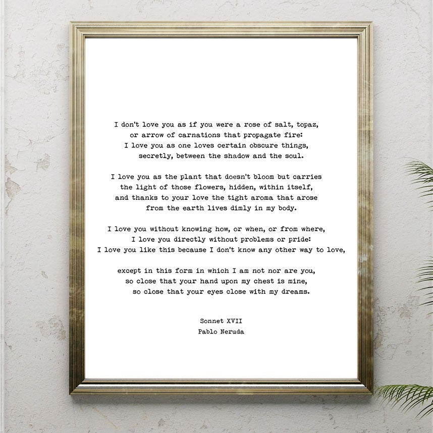 Pablo Neruda Love Poem Print, I Love You Without Knowing How Love Poetry Art, Gallery Wall Idea, Unframed - BookQuoteDecor