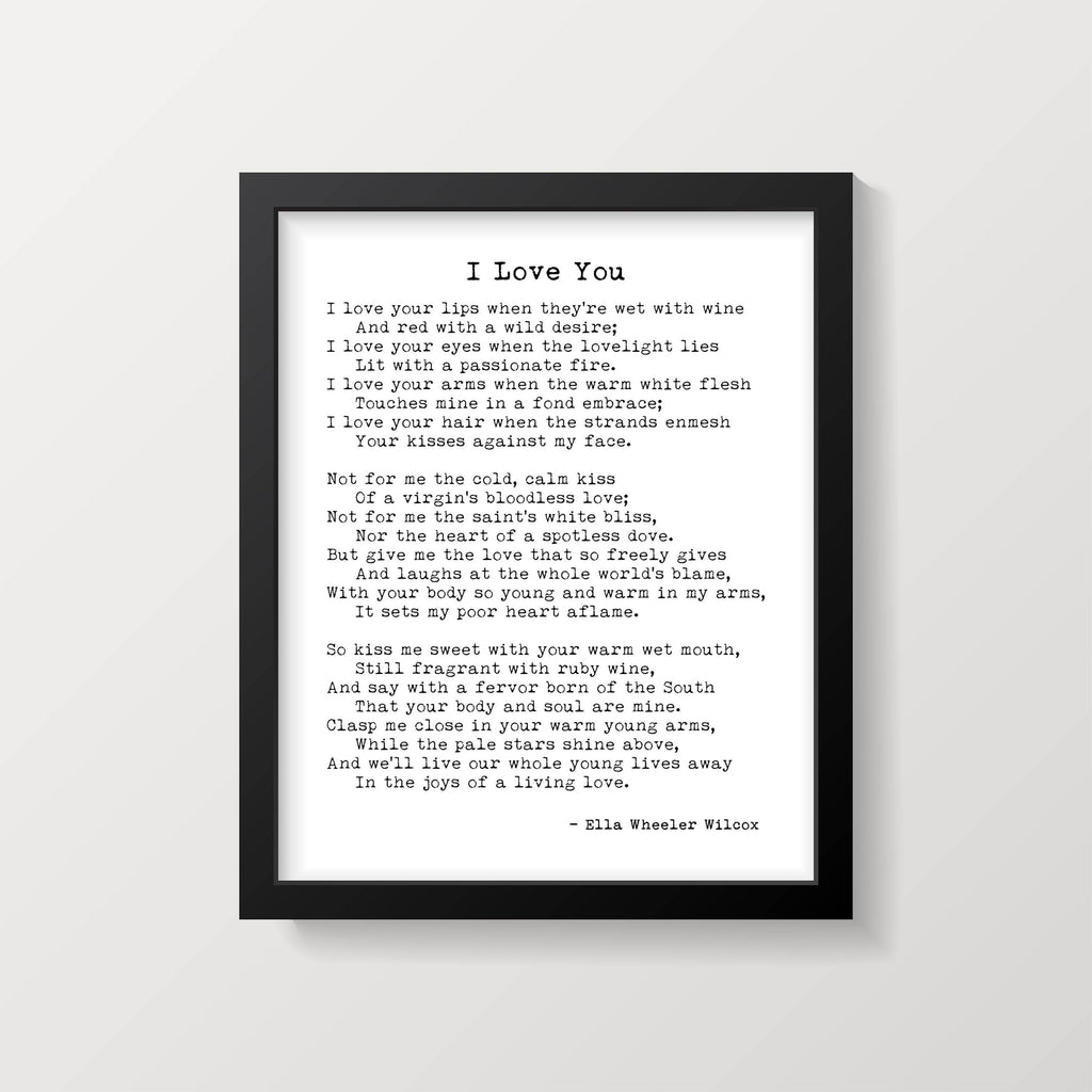 I Love Your Lips When They're Wet With Wine Ella Wheeler Wilcox Poem Wall Art Print, Literary Gift Poetry Print Unframed - BookQuoteDecor