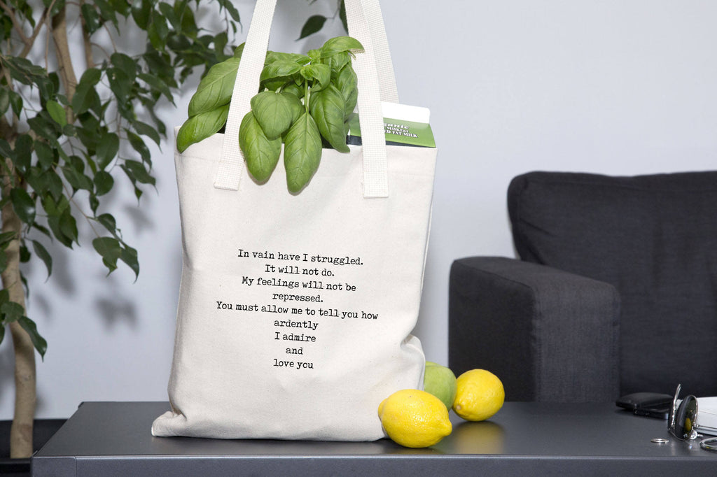 Organic Cotton Jane Austen Quote Book Bag, Mr Darcy In Vain I Have Struggled Pride & Prejudice Gussetted Tote - BookQuoteDecor