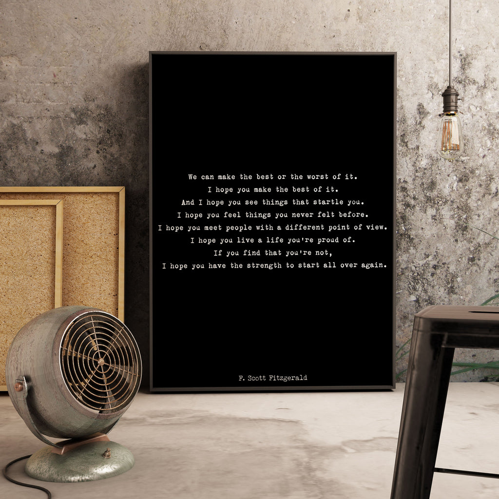 Large F Scott Fitzgerald Framed Art - Inspirational Print, Framed Quote Art For Kid's Room, 16x20 or 18x24 Inspirational Gift