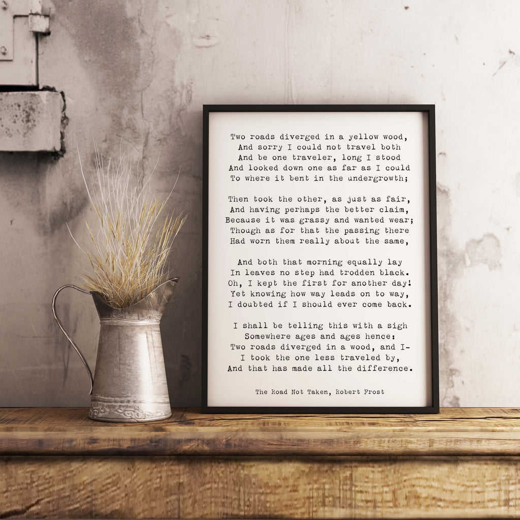 Robert Frost Framed Art, The Road Not Taken Poem Framed Poster, Two Roads Diverged in a Yellow Wood Poetry Print - BookQuoteDecor