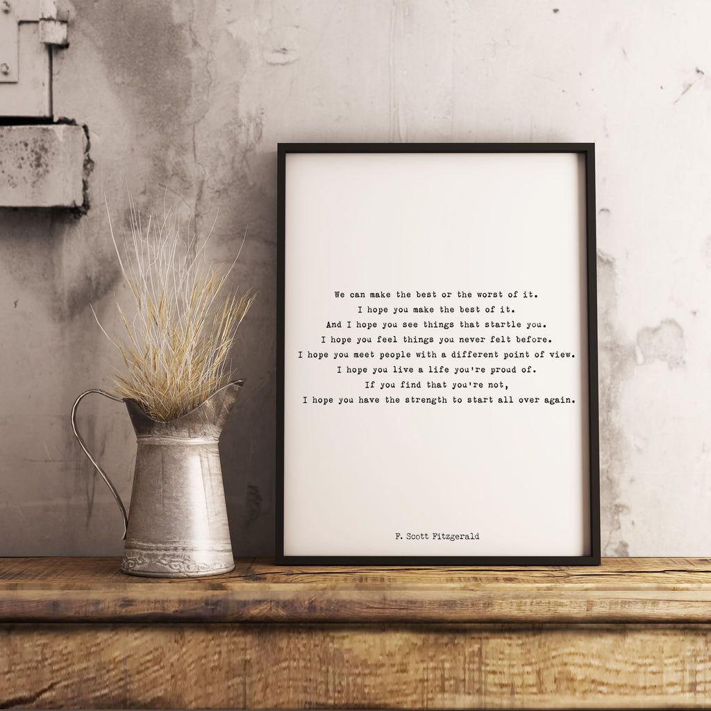 Inspirational F Scott Fitzgerald Framed Art Print - Make The Best Of It Quote Ready to Hang Art - BookQuoteDecor