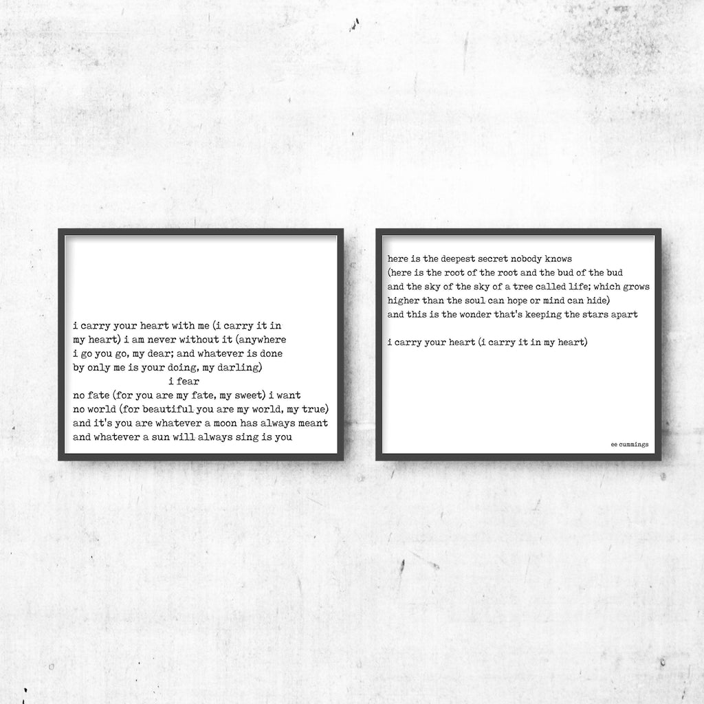 Poetry Quote Art Set, ee cummings I Carry Your Heart Wall Art Wedding Poem Print, Black & White Art Decor, Unframed - BookQuoteDecor