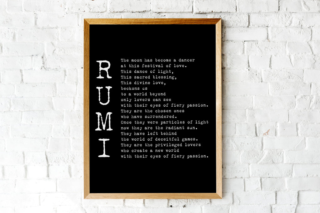 Rumi Poem - The Privileged Lovers Wedding Print or Love Poem Engagement Gift, Poetry Quote Art Unframed - BookQuoteDecor