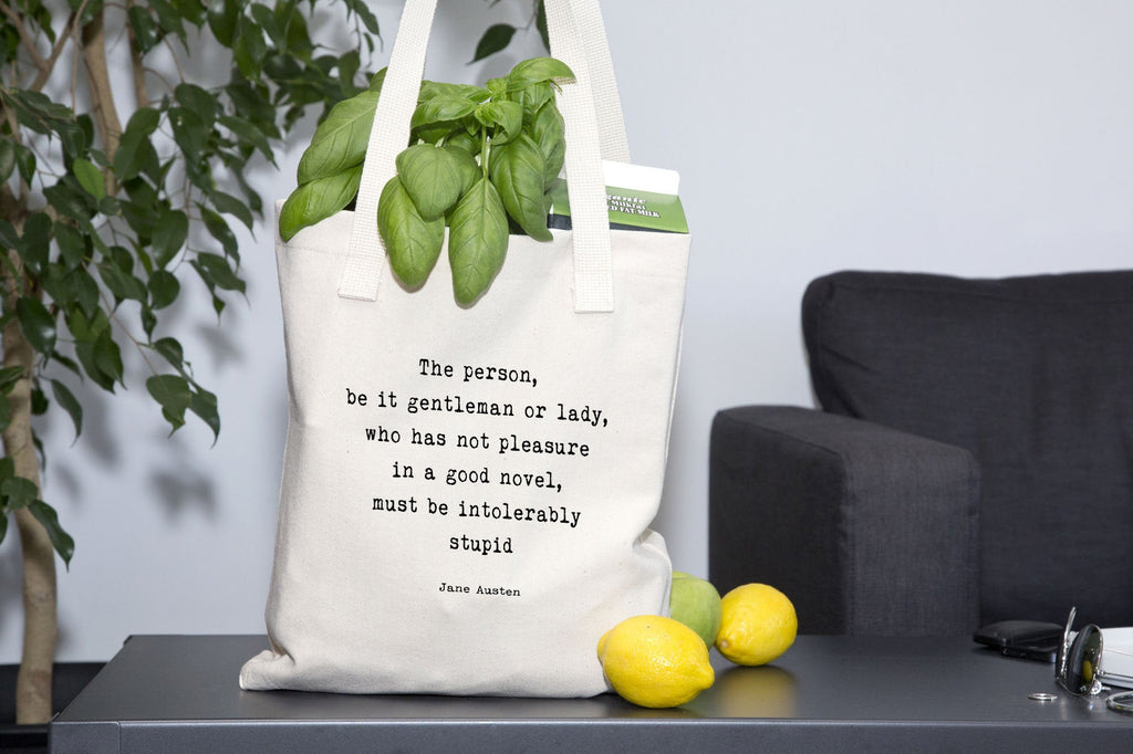 Jane Austen Tote Bag, Pleasure in a good novel book quote grocery bag canvas, everyday large bag, literary tote for book lovers - BookQuoteDecor