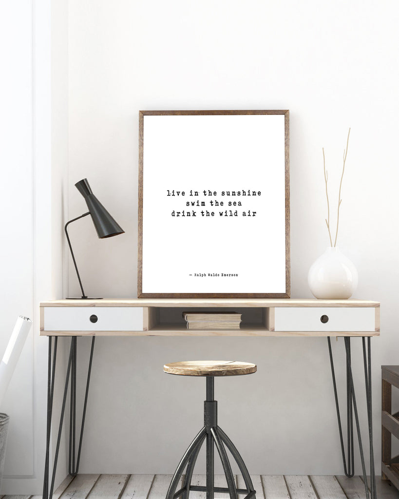 Ralph Waldo Emerson Positive Quote, Emerson Live In The Sunshine Art Inspirational Print for Home Decor Unframed - BookQuoteDecor