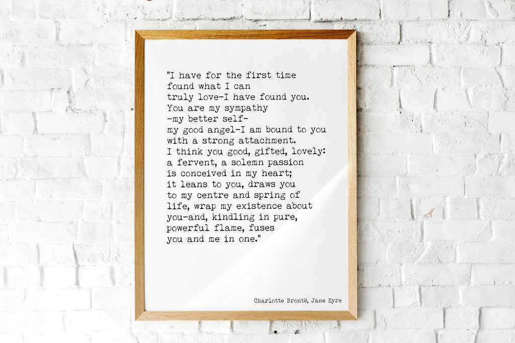 Jane Eyre Print, I have Found You - BookQuoteDecor