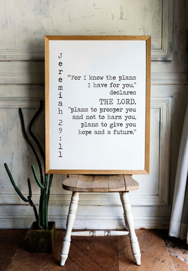 Jeremiah 29:11 Print Give you Hope and a Future - BookQuoteDecor