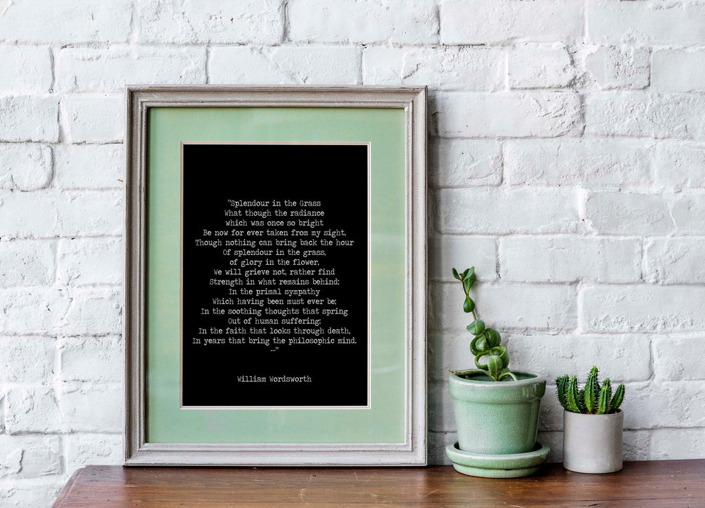 Splendour in the Grass Poem Art Print, William Wordsworth Poetry in Black and White, Unframed Literary Quote Print for Reading Nook Decor - BookQuoteDecor
