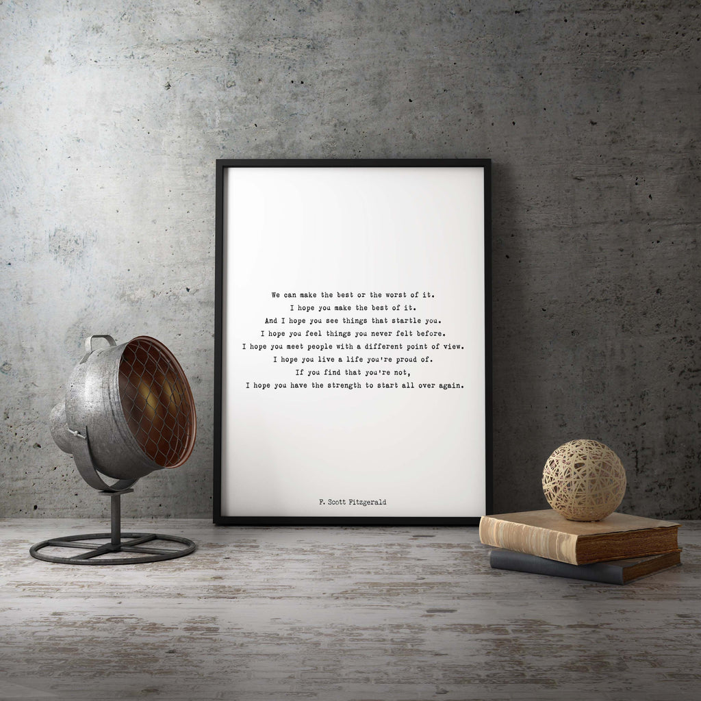 F Scott Fitzgerald Framed Art - BookQuoteDecor