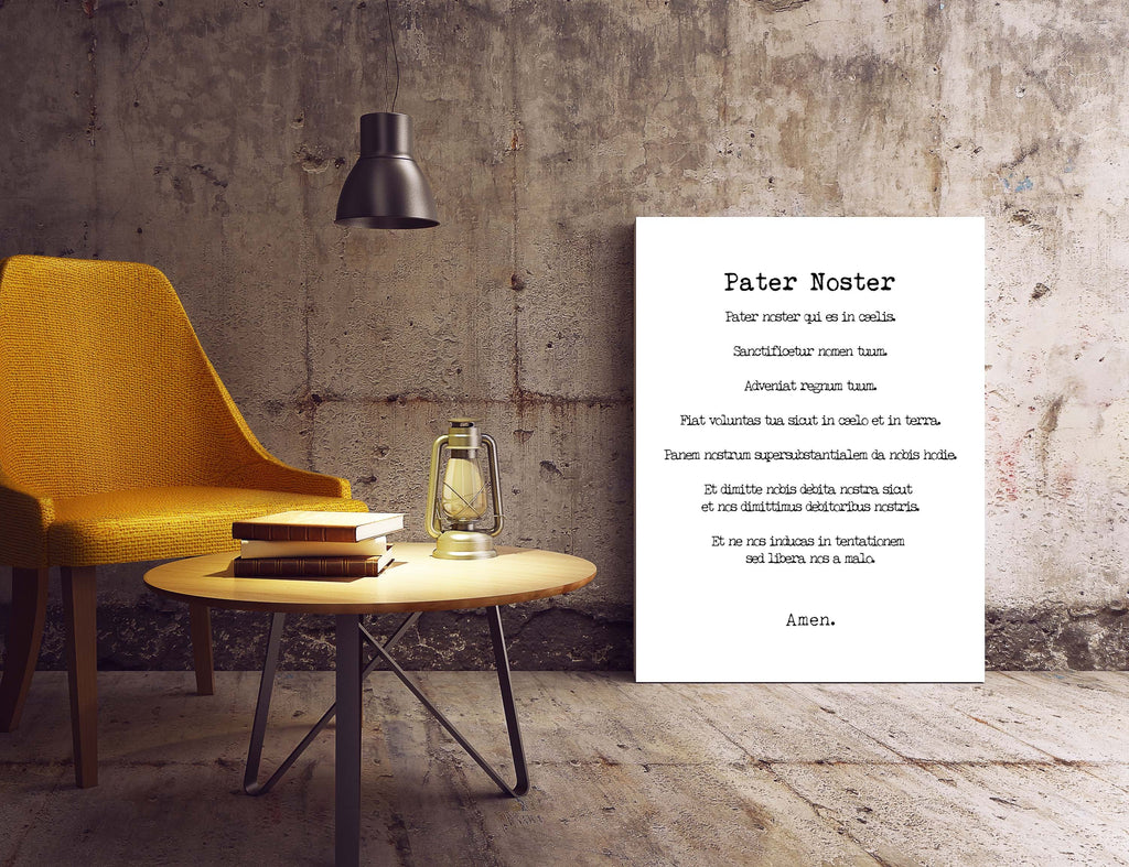 Pater Noster Print, The LORD'S Prayer Latin Quote Print in Black & White, Christian Wall Art Inspirational Quote