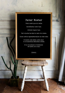 Pater Noster Print, The LORD'S Prayer Latin Quote Print in Black & White, Christian Wall Art Inspirational Quote - BookQuoteDecor