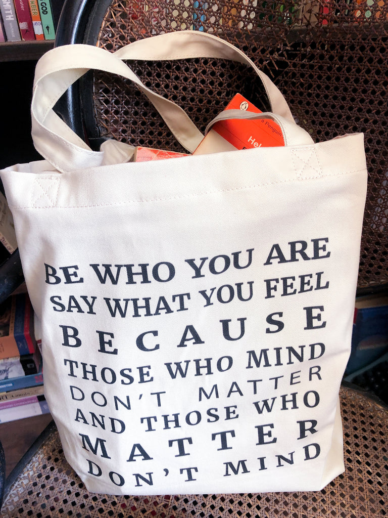 Inspirational Tote Bag Be Who You Are Quote 100% Organic Cotton Canvas Tote Bag, Beach or Grocery Bag - BookQuoteDecor
