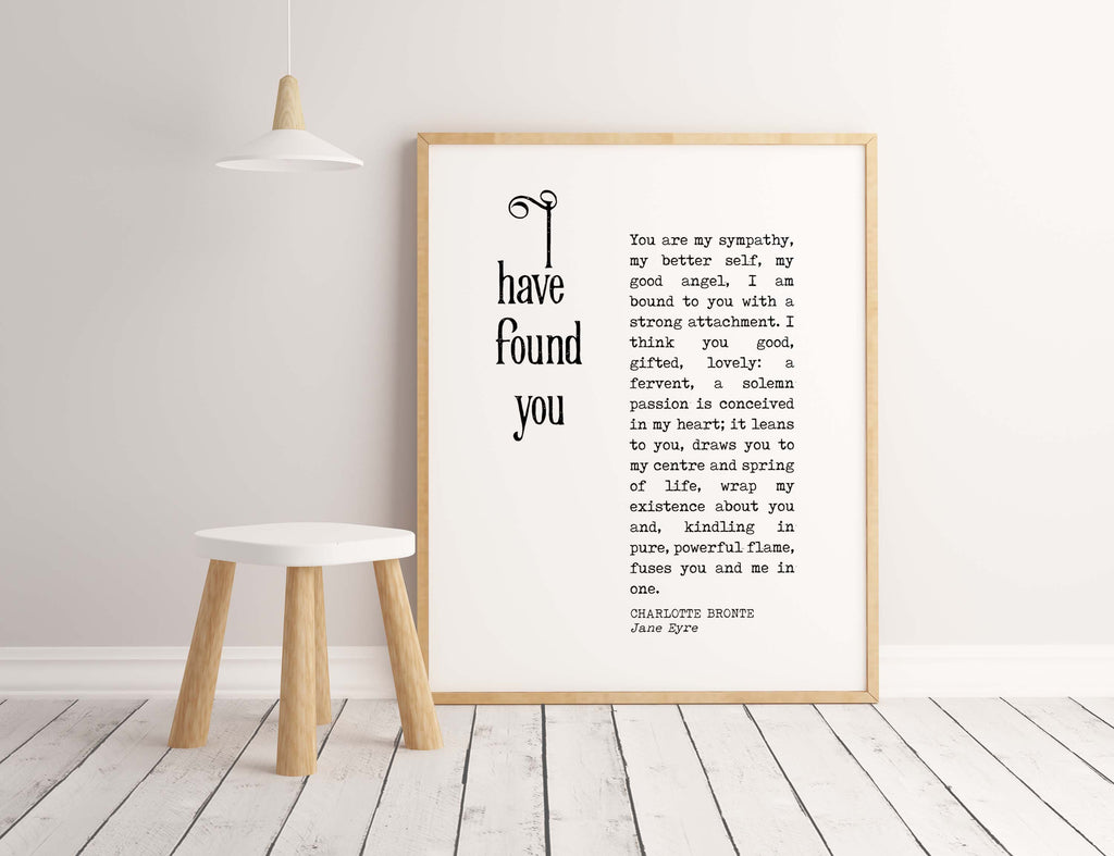I have Found You Jane Eyre Print - BookQuoteDecor