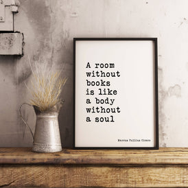 A Room Without Books Framed Art Print - BookQuoteDecor