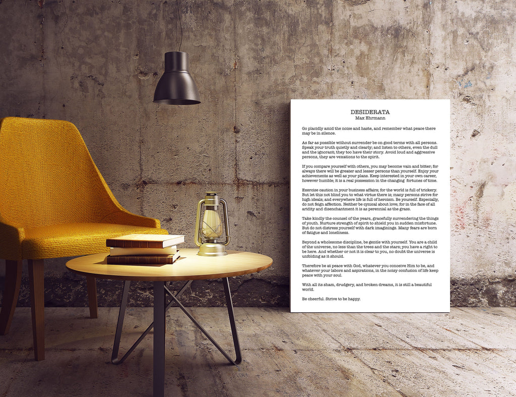 Poem Art Desiderata Print modern minimalist poster, Max Ehrmann Literary Poster, Literary Quote Print, Motivational Poster Unframed Wall Art - BookQuoteDecor